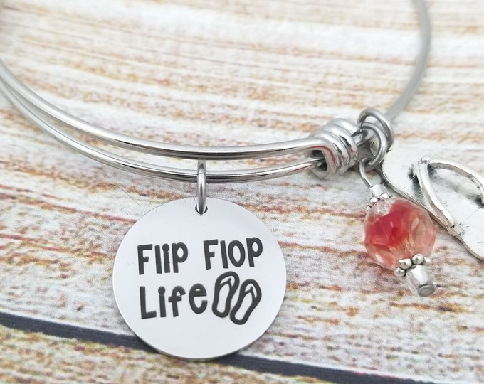 Flip Flop Life Customizable Expandable Bangle Charm Bracelet, beach jewelry, starfish, seashell, summertime, vacation jewelry