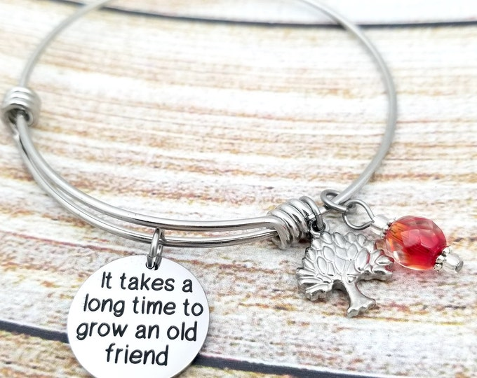 Takes a long time to grow an old friend, gift for friend, best friends, cherish friendship, special friend, jewelry for a friend