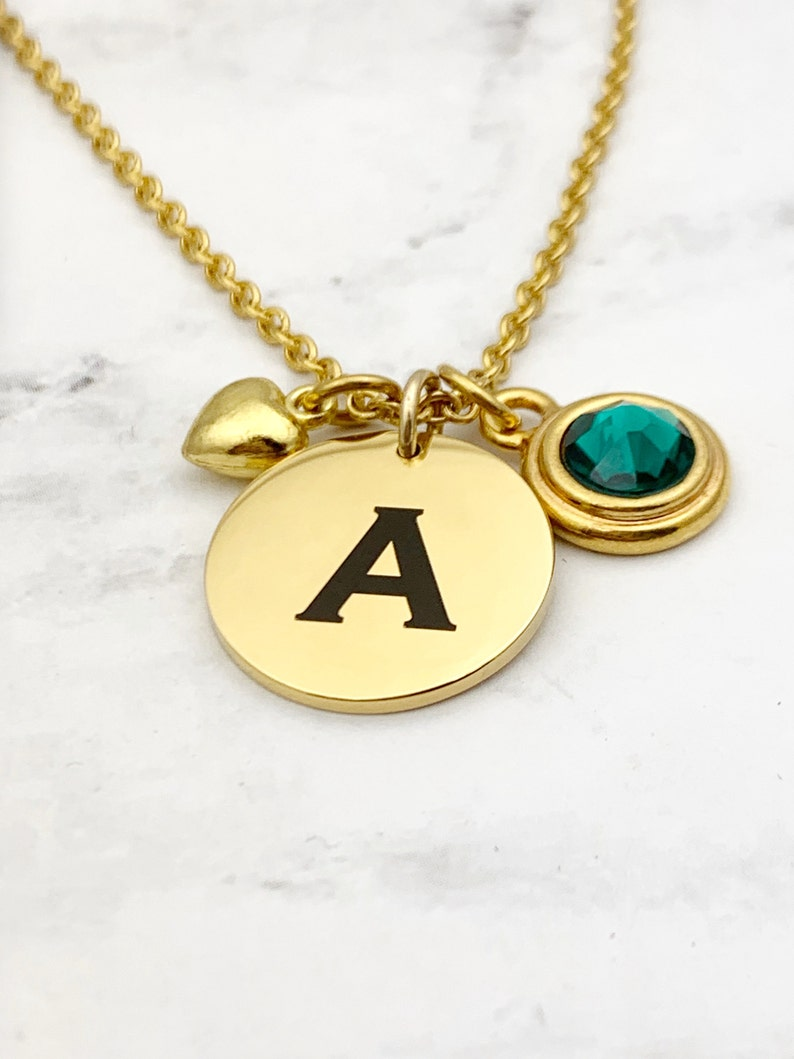 Dainty Birthstone and Initial Gold Tone Necklace Custom image 0