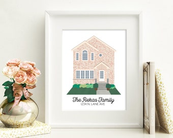 Custom Home Illustration, Housewarming Gift, Custom House Print, Custom Digital Illustration, House Portrait, Personalized Gift, Custom Art