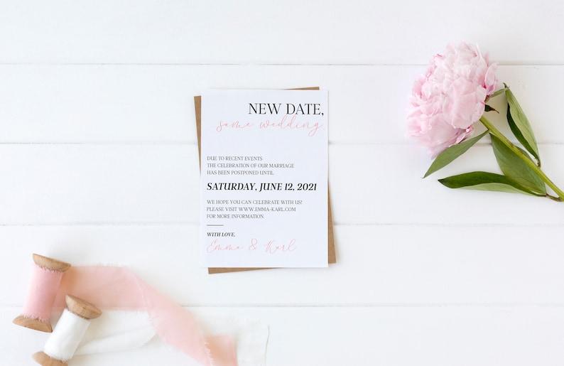 New Wedding Date Postponed Wedding COVID Wedding Card Save Our New Date Wedding Date Change Wedding Announcement Wedding Update Card