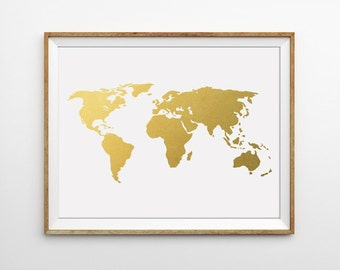 Gray world map print gold world map art grey map art gold gold world map print world map art faux gold foil map wanderlust print gumiabroncs Image collections