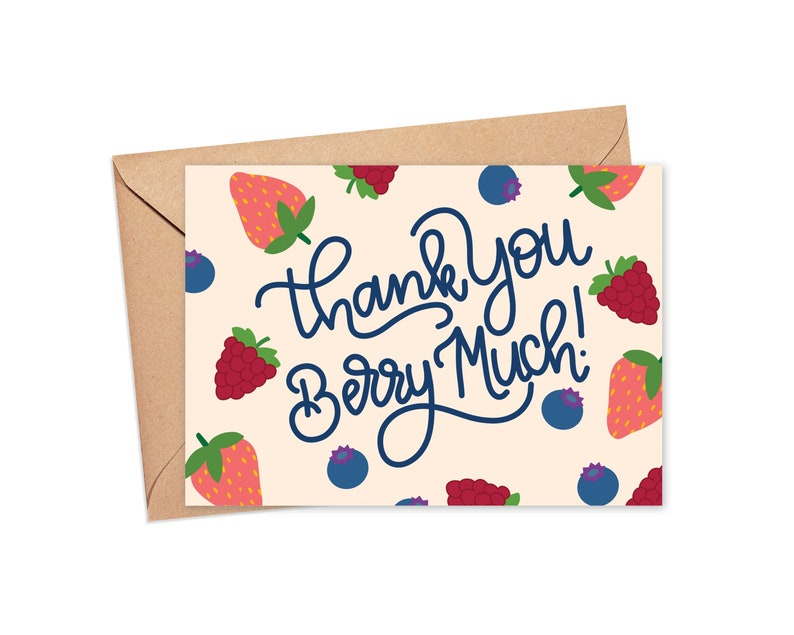 Fruit Greeting Card Summer Note Card Berry Card Food Pun Card Cute Food Pun Card Funny Thank You Card Hostess Thank You Note