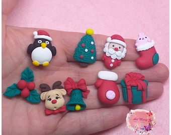 pack christmas charms in fimo