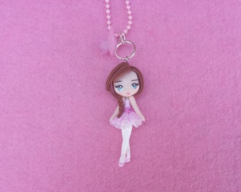 Ballerina Necklace fimo, polymer clay