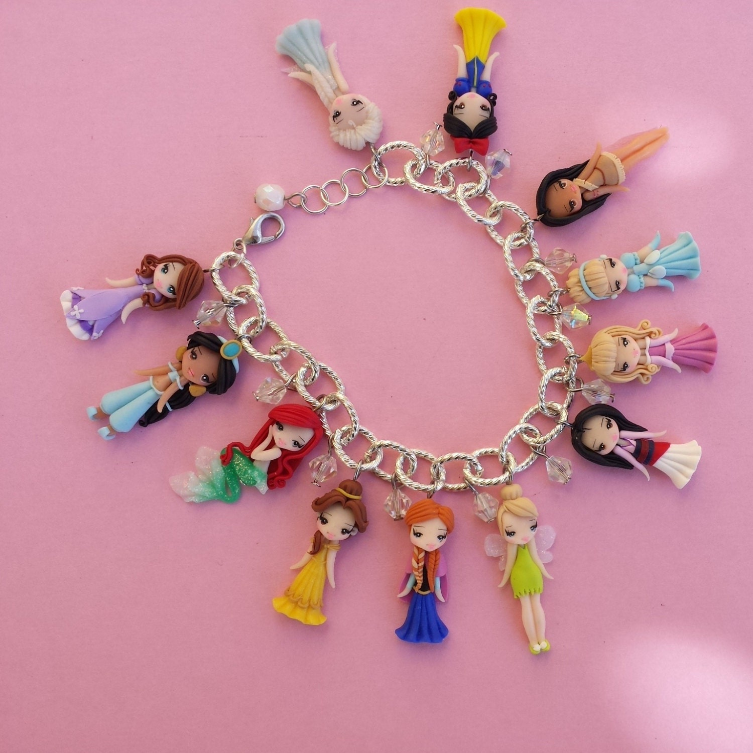 Bracelet with disney princesses in fimo polymer clay