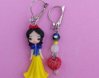 white snow earrings in fimo, polymer clay