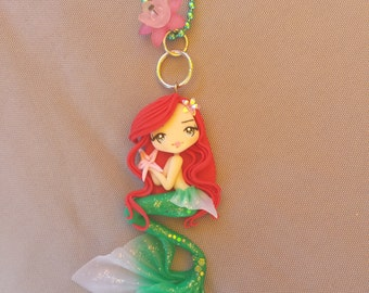 little mermaid necklace on fimo, polymer clay