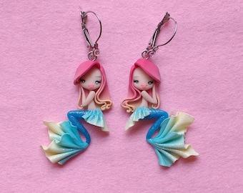 Earrings mermaid in fimo, polymer Clay