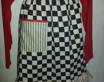 Black and white checkered apron