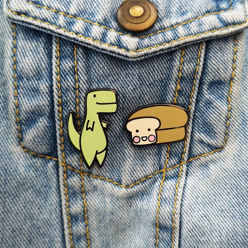 df3b2c62cdae17 X2 Enamel Pin Badge Set Loof   Timmy Dinosaur Pin T-Rex