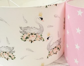 shabby chic lighting. Swan Princess Lampshade - Floral Pink White Grey Blush Shabby Chic Style Lighting Nursery Bedroom Playroom Swans Feathers Roses E