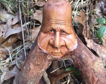 Whimsical Wood Carving, Unique Birthday Gift, Wood Spirit Carving, Creature Carving, Chainsaw Carving