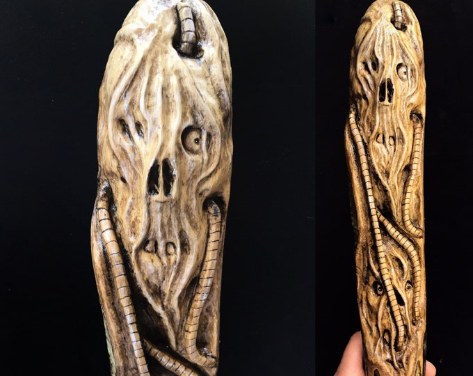 Hand Carved Walking Stick, Creature Carving, Wooden Hiking Stick, Sculpture by Wood Artist, Halloween Carving with Skulls