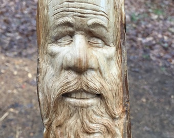 Wood Spirit Carving, Old Man Carving, Wood Sculpture, Wood Gift for Him, Wall Art Decor, by Josh Carte, Hand Carved, Beard, Zen, Peace,