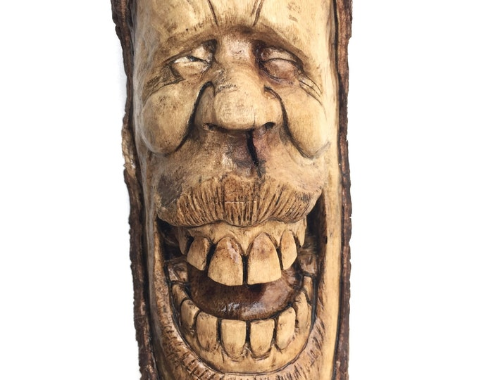 Wood Carving, Wall Art, Wood Spirit Carving, Hand Carved Art by Josh Carte, Perfect Wood Gift, Smile, Face, Rustic Home Decor, Made in Ohio