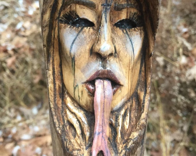 Wood Carving, Girl, Wood Spirit, Evil, Perfect Wood Gift, Scary, Handmade Art, by Josh Carte, Wall Art, Serpent Tongue, Rustic Decor, OOAK