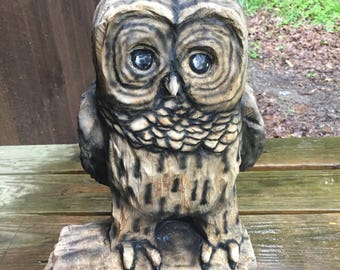 Owl Chainsaw Carving, Wood Carving, Cute Sculpture, Wood Gift for Her, Handmade Woodworking, Log Home Decor, Birthday Gift, OOAK, by Carte