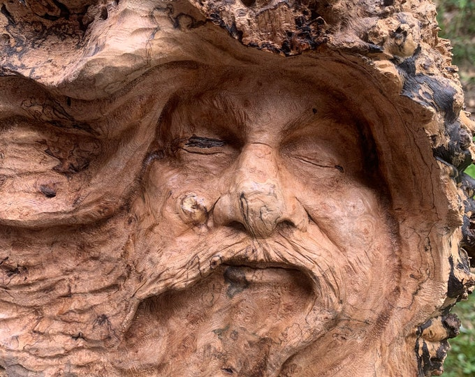 Wood Carving, Wood Wall Art, Burl Carving, Carving of a Face, Handmade Woodworking, by Josh Carte, Hand Carved Wood Art, Maple Burl