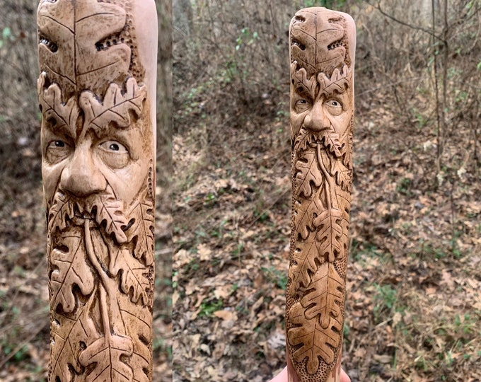 BALANCE, Reserved for Michael, Green Man Walking Stick, Commission