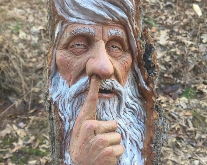20% Off Sale Wood Carving, Wood Spirit Carving, Chainsaw Carving, Made in Ohio, by Josh Carte, Carving of a Face, Nose Picker