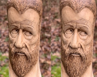 Walking Stick, Wood Carving, Hand Carved Wood Art, Hiking Stick, by Josh Carte, Carving of a Face, Made in Ohio, Handmade Woodworking