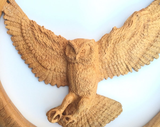 Owl Wood sculpture, Hand Carved Wood, Wood Carving, by Josh Carte, Relief Wood Art, Log Home Decor, Beautiful Wood Gift, Animal Carving