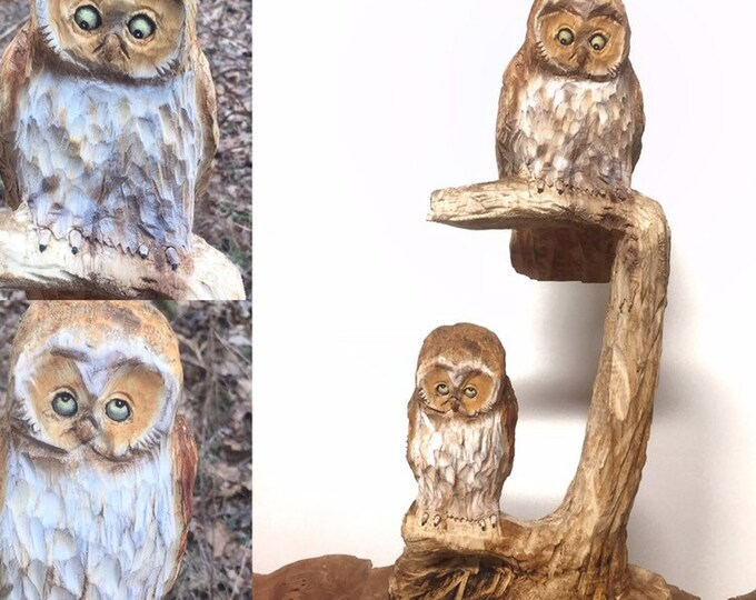 Owls, Chainsaw Carving, Carved Owls, Hand Carved Wood Art, Unique Wood Sculpture, Made in Ohio, by Josh Carte, Wooden Owl