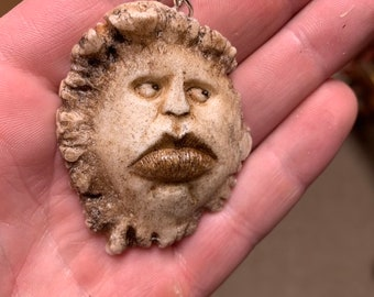 Handmade Pendant, Pendant Necklace, Carving of a Face, By Josh Carte, Wearable Art, Big Lips, Made in Ohio