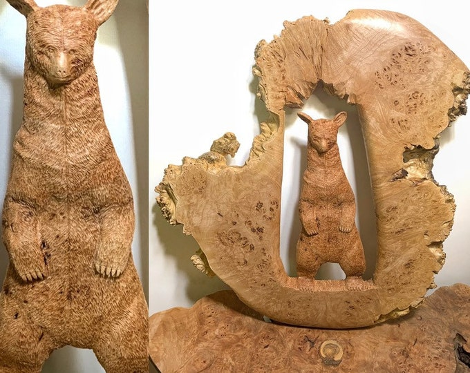 Bear, Wood Carving, Chainsaw Carving, Hand Carved Bear, Bear Sculpture, Bear Art, by Josh Carte, Bear Carving