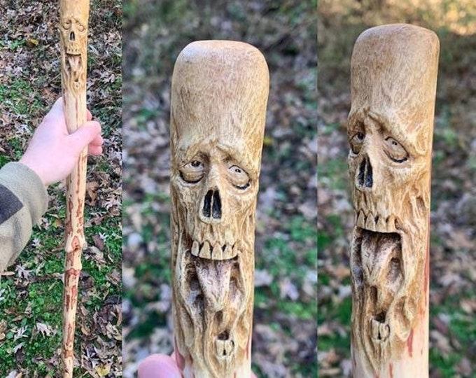 SALE New Year Skull Walking Stick, Hand Carved Hiking Stick, Wood Carving, by Josh Carte, Dark Art, Walking Cane, Handmade Woodworking, Wood