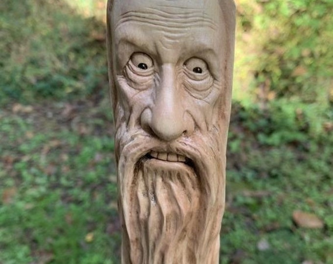 Halloween SALE Walking Stick, Walking Stick with a Face Carved in it, Handmade Woodworking, Old Man with a Beard, by Josh Carte, Hiking Stic