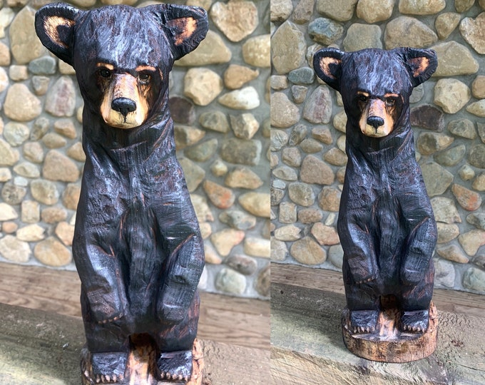 Bear Chainsaw Carving, Bear Wood Carving, Black Bear, Bear Wood Art, Chainsaw Art, by Josh Carte, Hand Carved Wood Art