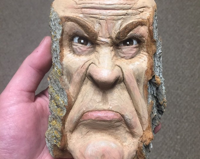 Wood Carving, Wood Spirit Carving, Carving of a Face, Grumpy, by Josh Carte, Made in Ohio, Hand Carved Wood Art