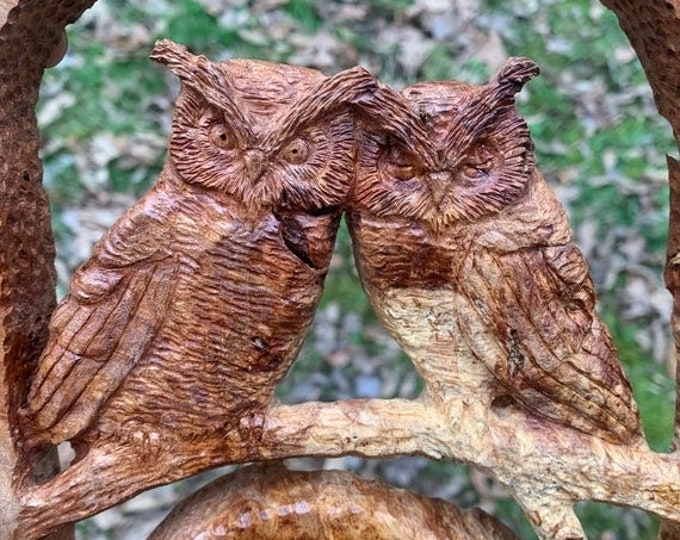 SALE New Year Love Birds, Wood Carving, Owls Wood Carving, Hand Carved Wood Art, by Josh Carte, Wood Sculpture, Perfect Wood Gift, 5th Anniv