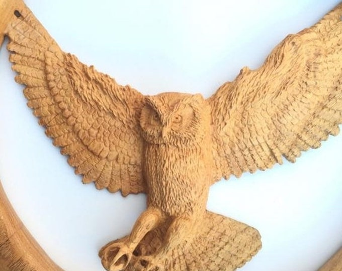 Halloween SALE SALE, Owl Wood sculpture, Hand Carved Wood, Wood Carving, by Josh Carte, Relief Wood Art, Log Home Decor, Beautiful Wood Gift
