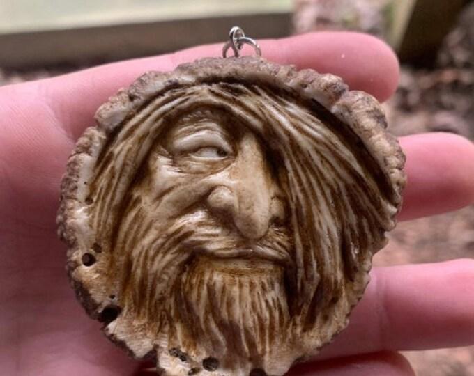 SALE New Year Elk Antler Carving, Antler Pendant, Bone Carving, Bone Necklace, by Josh Carte, Hand Carved Bone Art, Antler Sculpture, OOAK C