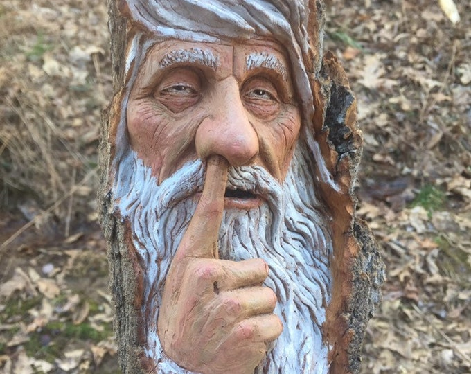Wood Carving, Wood Spirit Carving, Chainsaw Carving, Made in Ohio, by Josh Carte, Carving of a Face, Nose Picker