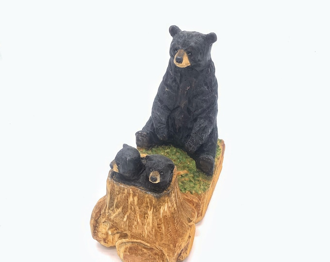 Bear Carving, Wood Carving, Chainsaw Carving by Josh Carte, Wooden Bear Carving, OOAK Wood Art, Amazing Gift for Bear Lover