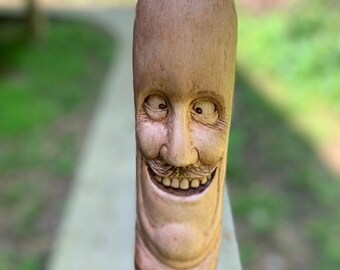 20% Off Sale Walking Stick, Wood Carving, Hand Carved Wood Art, by Josh Carte, Made in Ohio, Funny Face, Carving of a Face, Unique Sculpture