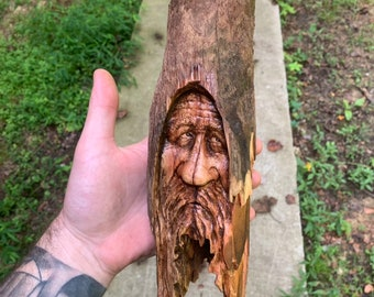 Halloween SALE Wood Carving, Wood Spirit Carving, Wood Wall Art, Hand Carved Wood Art, by Josh Carte, Made in Ohio, Unique Wood Sculpture, W