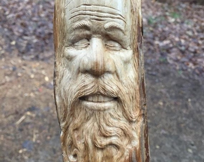 SUMMER SALE Wood Spirit Carving, Old Man Carving, Wood Sculpture, Wood Gift for Him, Wall Art Decor, by Josh Carte, Hand Carved, Beard, Zen,