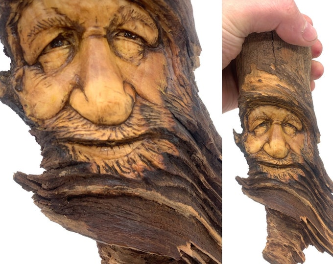 Wood Spirit Carving, Wood Wall Art, Hand Carved Wood Art, by Josh Carte, Wood Carving, Carving of a Face, Unique Wood Art, Handmade Art