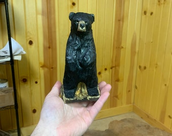 Bear Chainsaw Carving, Wooden Bear, Hand Carved Bear, Bear Sculpture, Chainsaw Carved Bear, by Josh Carte, Log Home Decor, Unique Wood Art