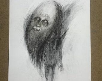Original Charcoal Drawing, Dark Art, Creepy Pencil Art, by Josh Carte, charcoal Wall Art, Hand Drawn Art, Original Sketch, Fine Art Drawing