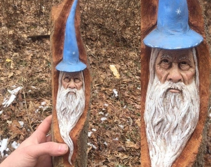 20% Off Sale Wizard Wood Carving, Wizard Hat, Made in Ohio, Magical Wood Carving, Carving of a Face, Hand Carved Wood Art, by Josh Carte