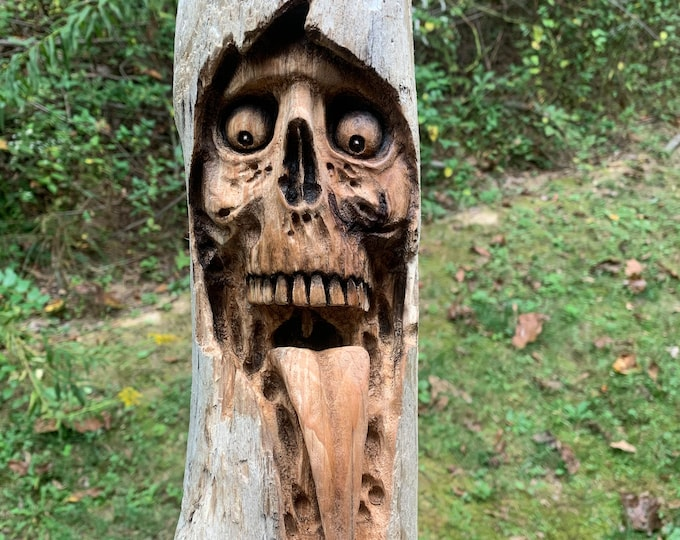 RESERVED for Mark, Balance, Carving, Skull Carving, Halloween Wood Carving, Skull Wood Art, Wood Wall Art, Macabre Art, by Josh Carte,