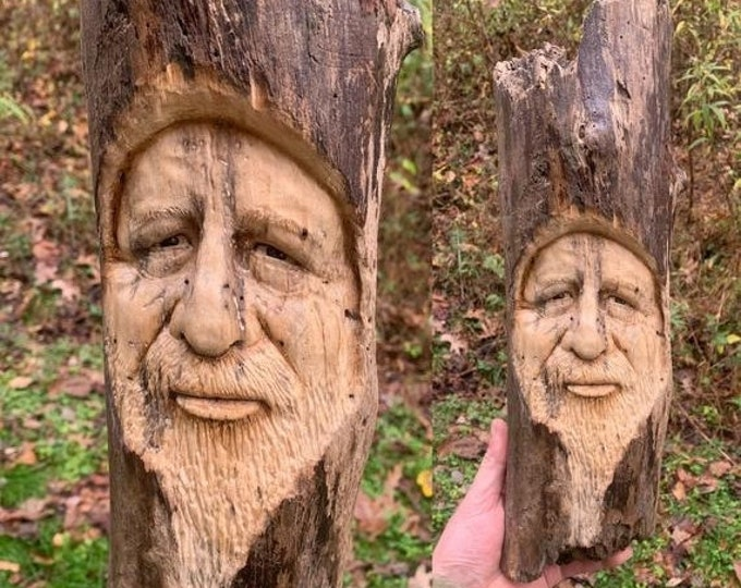 SALE New Year Driftwood Carving, Wood Carving, Wood Spirit Carving, Driftwood Art, Wood Wall Art, Hand Carved Wood Art, by Josh Carte, Woode