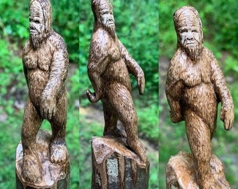 20% Off Sale Bigfoot Walking Stick, Sasquatch Wood Carving, Bigfoot Cane, by Josh Carte, Hand Carved Wood Art, Made in Ohio, Wood Art