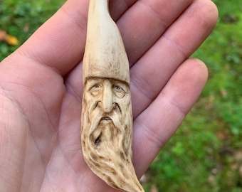 Wizard Antler Pendant, Whitetail Deer Antler, Antler Art, Deer Antler Jewelry, by Josh Carte, Hand Carved Bone Art, Made in Ohio, OOAK